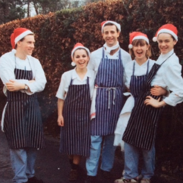 Jock Zonfrillo at the age of 12 wearing a Santa hat in his chef's uniform