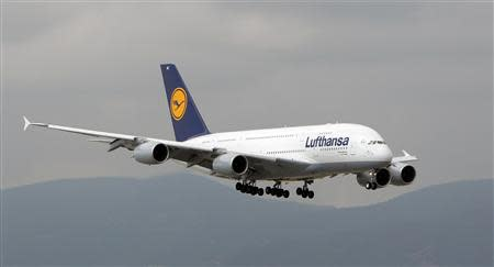 A Lufthansa Airbus A380-800 lands for the first time at Barcelona Airport