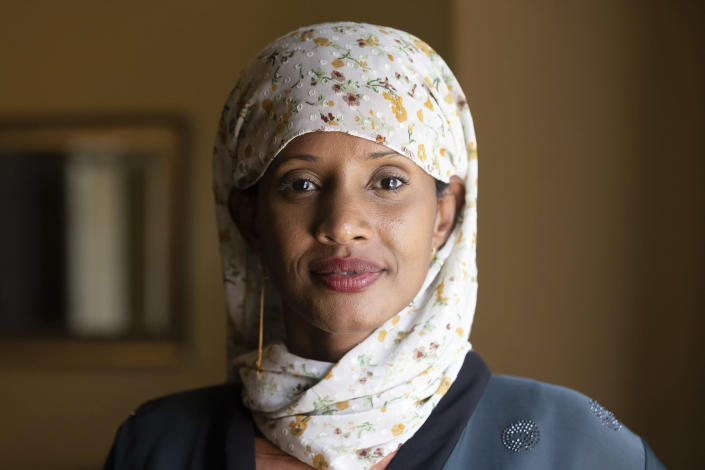 Shukri Olow, a Muslim woman who is running for King County Council District 5, poses for a portrait, Friday, Aug. 13, 2021, in Kent, Wash., south of Seattle. Muslim Americans in their 20s and 30s who grew up amid the aftershocks of the Sept. 11, 2001 terrorist attacks came of age in a world not necessarily attuned to their interests, their happiness and their well-being. Olow says the aftermath of the attacks has helped motivate her to become a community organizer and to run for office in Washington state. (AP Photo/Karen Ducey)