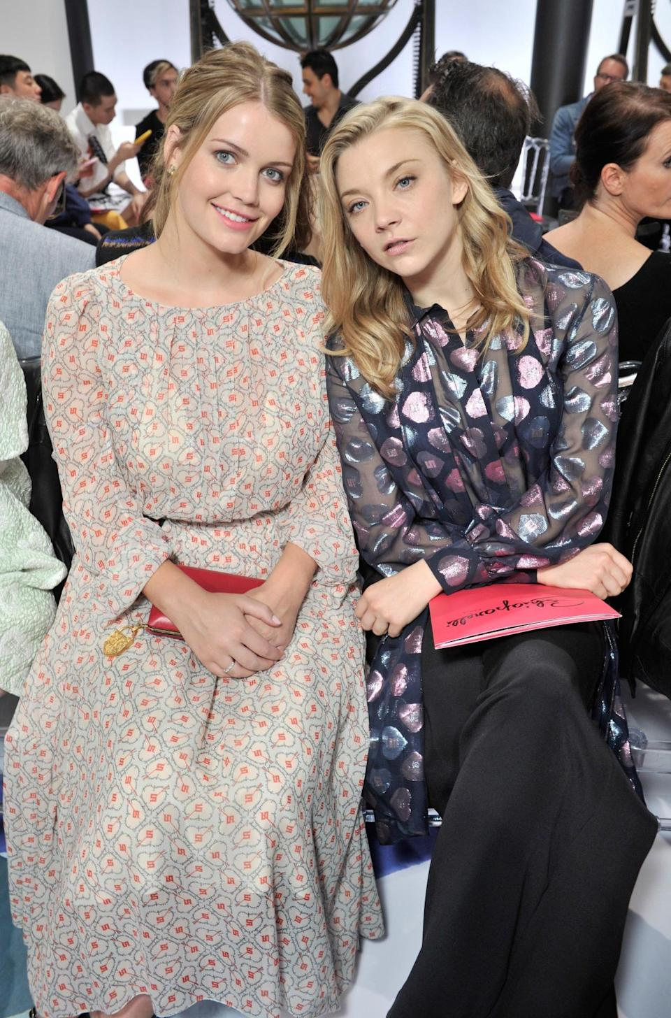 <p>Lady Kitty Spencer and Natalie Dormer sat in their prime position seats ready for the Schiaparelli show to start. <i>[Photo:Swan Gallet/REX/Shutterstock]</i></p>