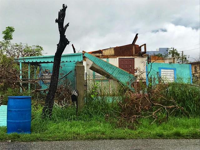 <p>A dilapidated house in the Bayaney barrio of Hatillo, Puerto Rico is without a roof after Hurricane Maria. (Photo: Caitlin Dickson/Yahoo News) </p>