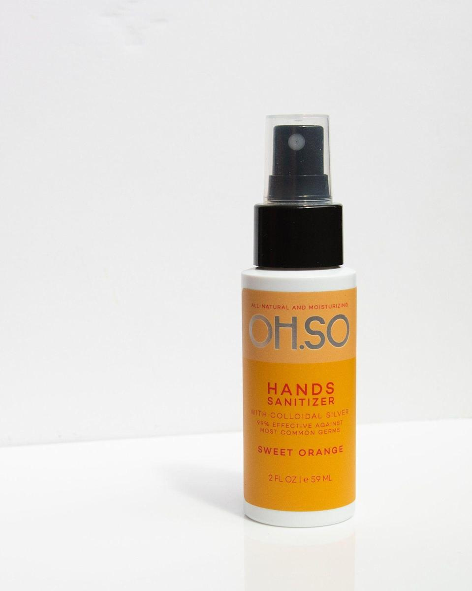 """<p><strong>7 reviews</strong></p><p>shopohso.com</p><p><strong>$6.00</strong></p><p><a href=""""https://www.shopohso.com/products/hands"""" rel=""""nofollow noopener"""" target=""""_blank"""" data-ylk=""""slk:BUY IT HERE"""" class=""""link rapid-noclick-resp"""">BUY IT HERE</a></p><p>This OH.SO sanitizer is made with 65 percent alcohol and smells like basket full of oranges, thanks to essential oil. </p>"""