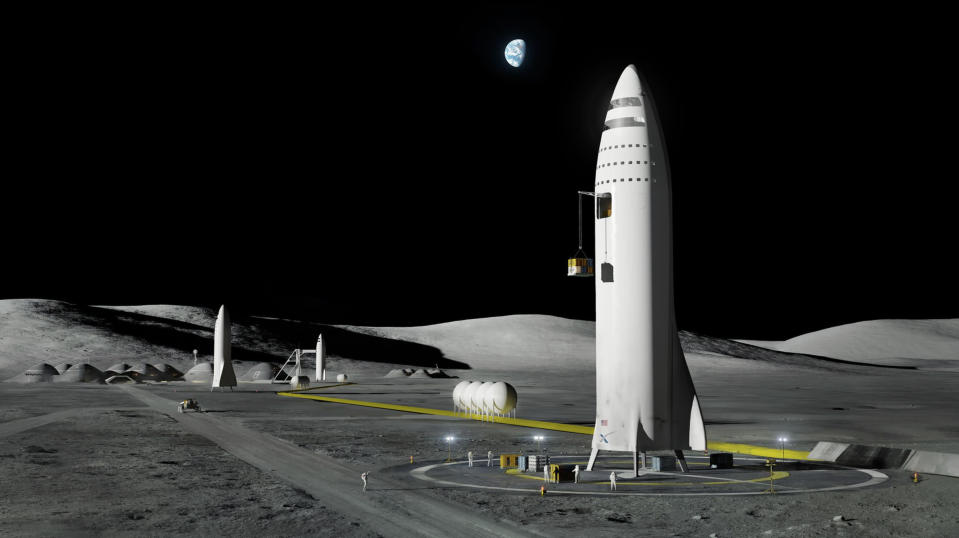 FILE - This artist's rendering made available by Elon Musk on Friday, Sept. 29, 2017, depicts a SpaceX rocket design on the Earth's moon. (SpaceX via AP, File)