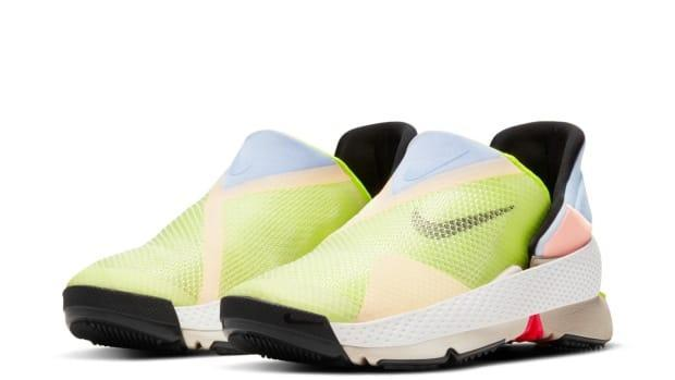 Nike released their FlyEase shoes, which don't require the wearer to use their arms, earlier this year. Soon after, they were snatched up by resellers, which prompted some to wonder whether they should have been marketed as pieces of adaptive fashion in the first place.  (Nike - image credit)