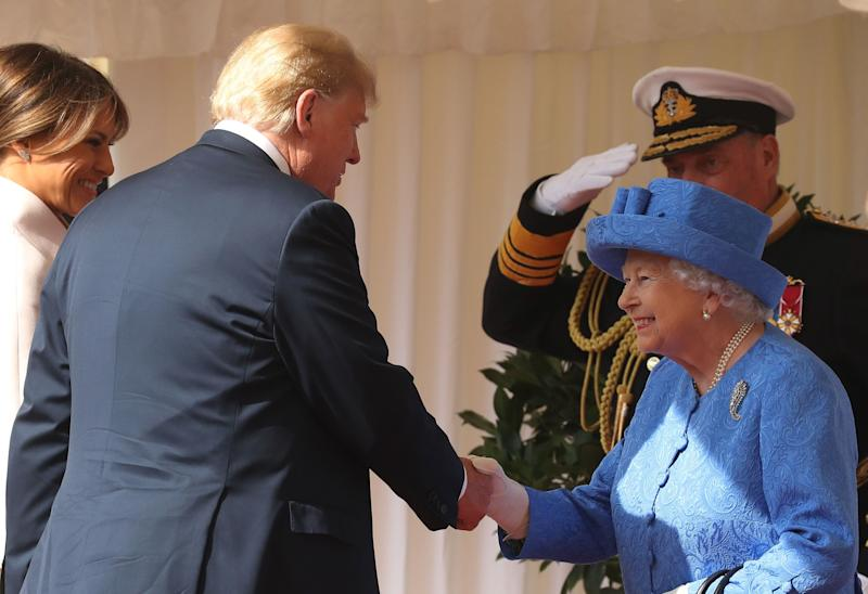 President Trump greets the Queen with a handshake last year [Photo: PA]
