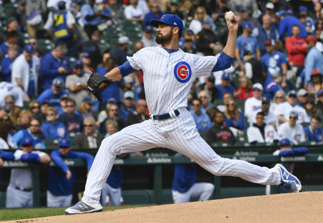 Chicago Cubs starting pitcher Cole Hamels (35) delivers during the first inning of a baseball game against the St. Louis Cardinals on Saturday, Sept. 29, 2018, in Chicago. (AP Photo/Matt Marton)