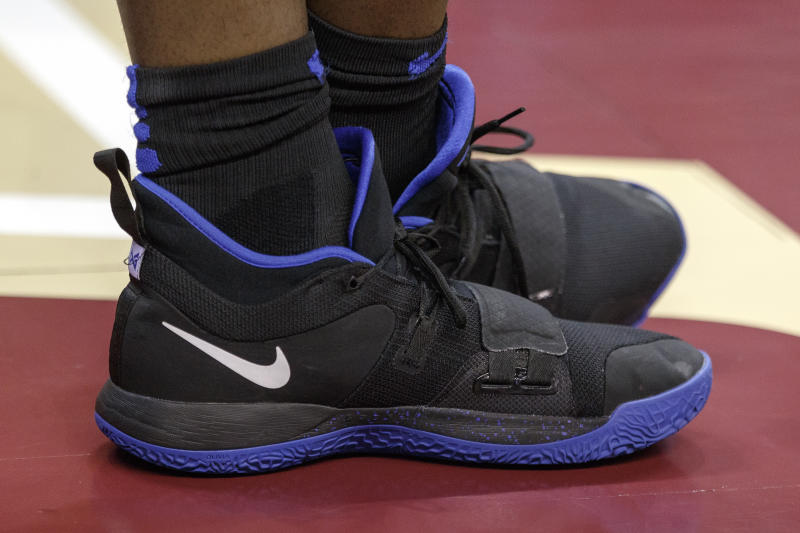 TALLAHASSEE, FL - JANUARY 12: A general view of a pair of NIKE Shoes worn by Zion Williamson #1 of the Duke Blue Devils during the game against the Florida State Seminoles at Donald L. Tucker Center on January 12, 2019 in Tallahassee, Florida. #1 Ranked Duke defeated #13 Florida State 80 to 78. (Photo by Don Juan Moore/Getty Images)