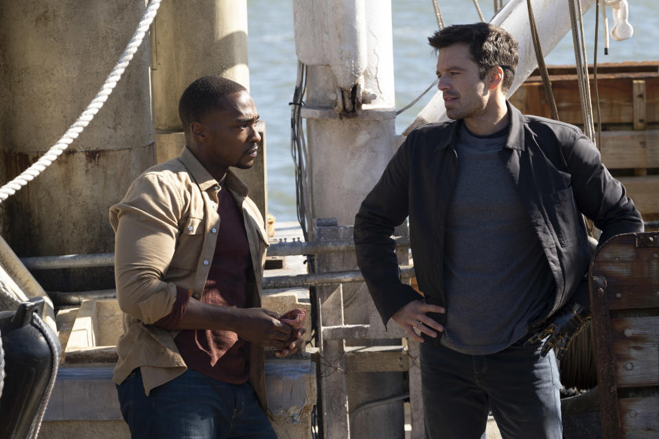 (L-R): Falcon/Sam Wilson (Anthony Mackie) and Winter Soldier/Bucky Barnes (Sebastian Stan) in Marvel Studios' THE FALCON AND THE WINTER SOLDIER exclusively on Disney+. Photo by Chuck Zlotnick. ©Marvel Studios 2021. All Rights Reserved.