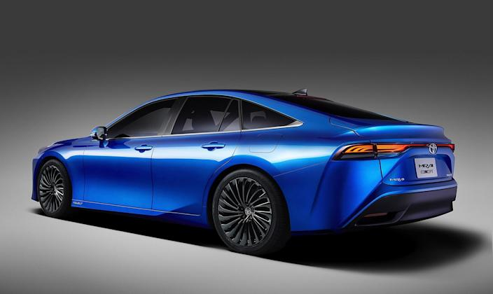 The Mirai uses compressed hydrogen to power its electric motors. The previous-generation car was one of the ugliest vehicles ever created. This new one is fiercely handsome. Perhaps that will help make scarce compressed hydrogen more widely available?