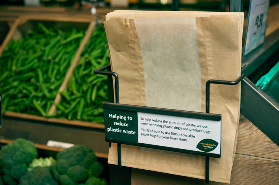 <em>Morrisons has ditched plastic bags in favour of brown paper bags for fruit and veg (PA)</em>