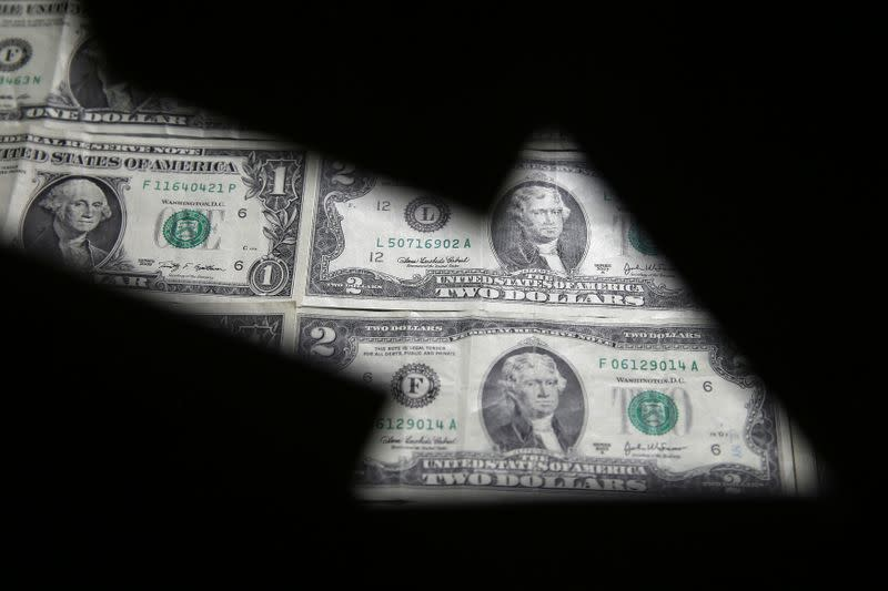 FILE PHOTO: Dollar banknotes are seen through printed stock graph in this illustration
