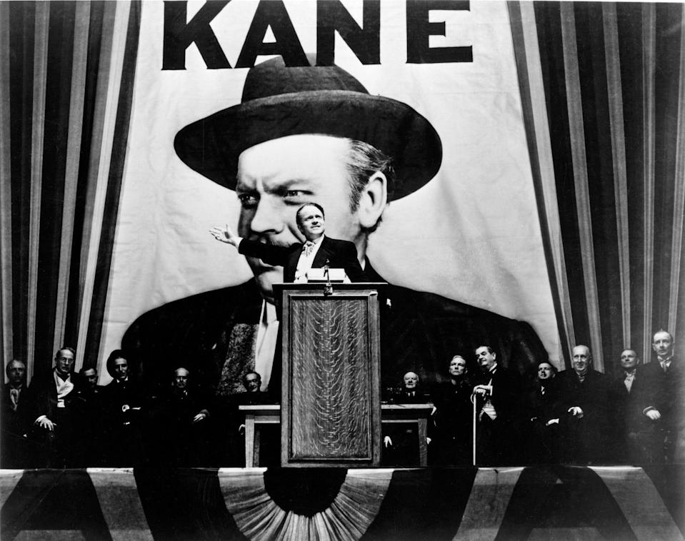 "Media mogul Charles Foster Kane (Orson Welles) campaigns for governor in ""Citizen Kane."""
