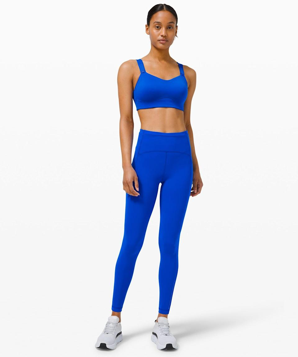 <p>Stay supported during high intensity workouts in this <span>Lululemon Swift Speed High-Rise Tight</span> ($128) and <span>Swift Speed Bra</span> ($88).</p>