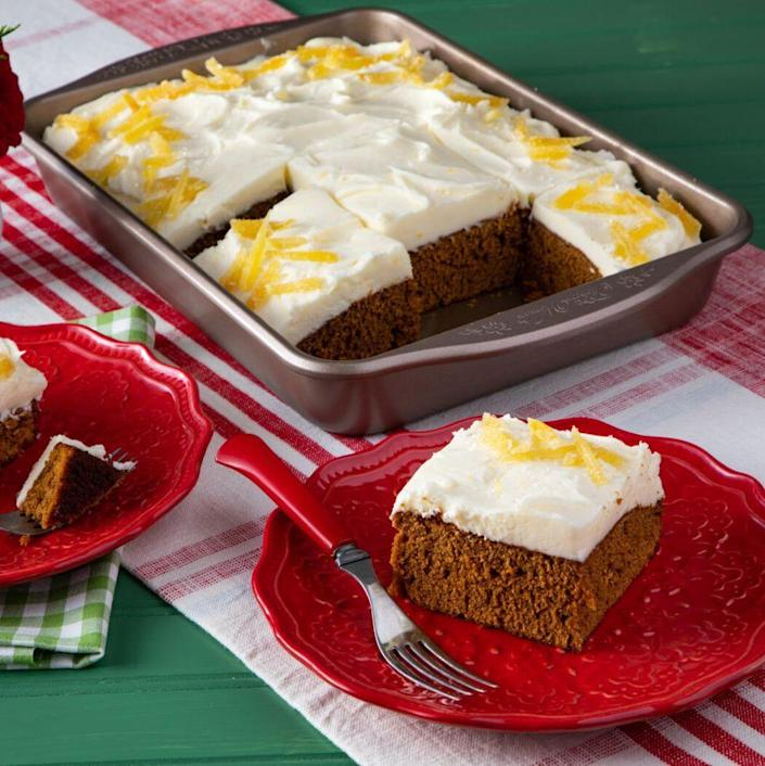 """<p>This simple cake is moist, fluffy, and packed with all the warm flavors of your favorite gingerbread cookie—cinnamon, ginger, and cloves. Plus, the lemon cream cheese frosting is out-of-this-world delicious! </p><p><a href=""""https://www.thepioneerwoman.com/food-cooking/recipes/a37261483/gingerbread-cake-recipe/"""" rel=""""nofollow noopener"""" target=""""_blank"""" data-ylk=""""slk:Get the recipe."""" class=""""link rapid-noclick-resp""""><strong>Get the recipe.</strong></a></p>"""