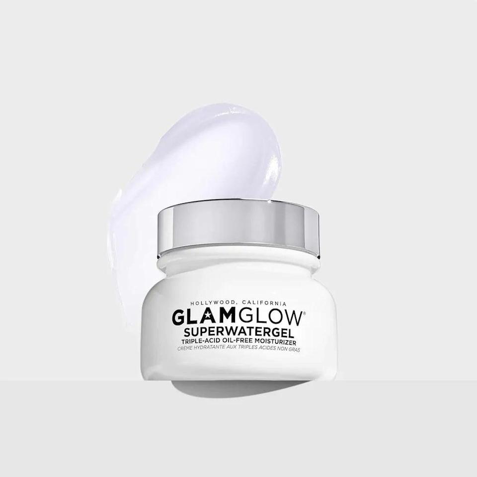 <p>If you have oily skin, the <span>GlamGlow SuperWatergel Triple Acid Oil-Free Moisturizer</span> ($56) contains clarifying ingredients like salicylic acid, glycolic acid, that will help you get it under control.</p>