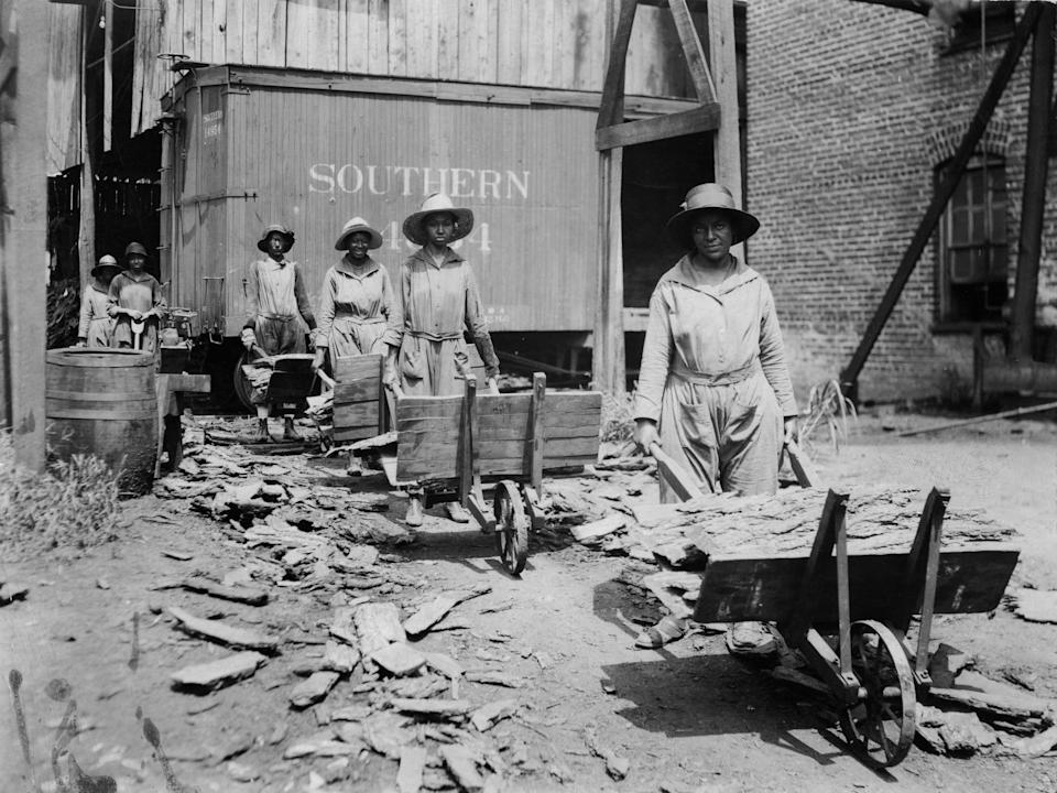Black female construction workers in the South.