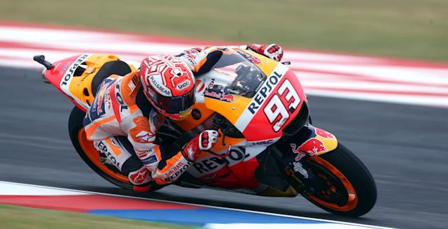 Motorcycle Racing - Argentina Motorcycle Grand Prix - MotoGP Practice Session - Termas de Rio Hondo, Argentina - April 7, 2018 - Repsol Honda Team rider Marc Marquez of Spain races during the third practice session. REUTERS/Marcos Brindicci