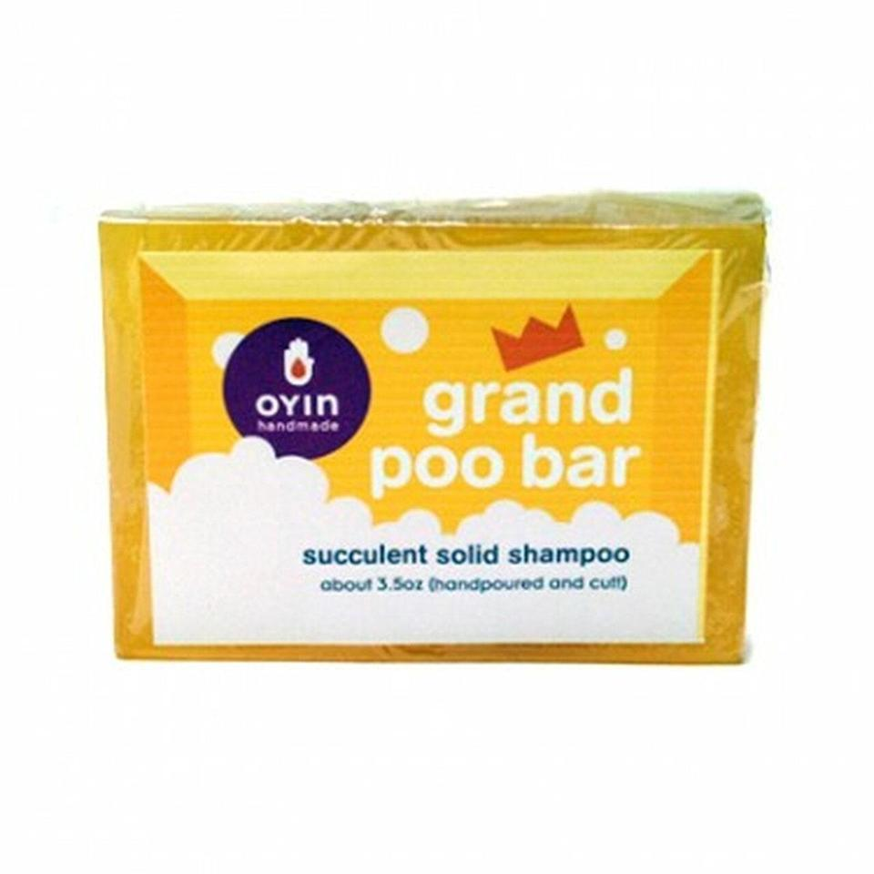 """The Oyin Handmade Grand Poo Bar is one of the first solid shampoos on the market. Its low-lather formula is rich in moisture-retaining castor oil, shea butter, and cocoa butter — an ideal combination for thicker textures in the 4A to 4C <a href=""""https://www.allure.com/gallery/curl-hair-type-guide?mbid=synd_yahoo_rss"""" rel=""""nofollow noopener"""" target=""""_blank"""" data-ylk=""""slk:curl type"""" class=""""link rapid-noclick-resp"""">curl type</a> range."""