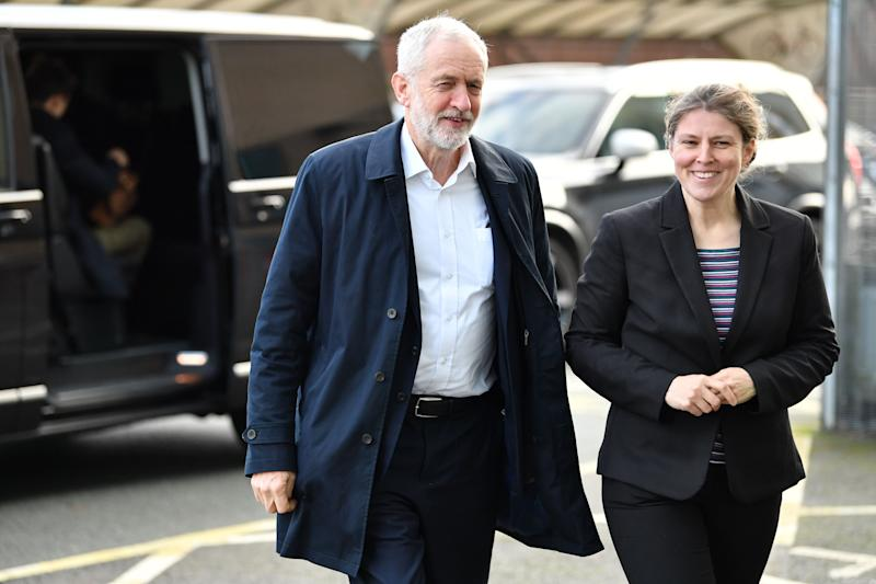 Opposition Labour Party leader Jeremy Corbyn (L) is met by Labour parliamentary candidate for York Central Rachael Maskell (R) as he arrives at York College, in York, northern England, on December 1, 2019 for a general election campaign event. - Britain will go to the polls on December 12, 2019 to vote in a pre-Christmas general election. (Photo by Paul ELLIS / AFP) (Photo by PAUL ELLIS/AFP via Getty Images)