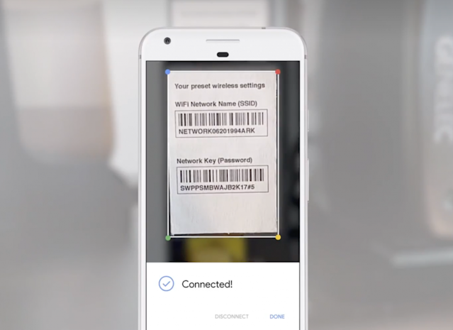 Google Lens can plug in Wi-Fi router info from the camera. Screenshot by Yahoo Finance