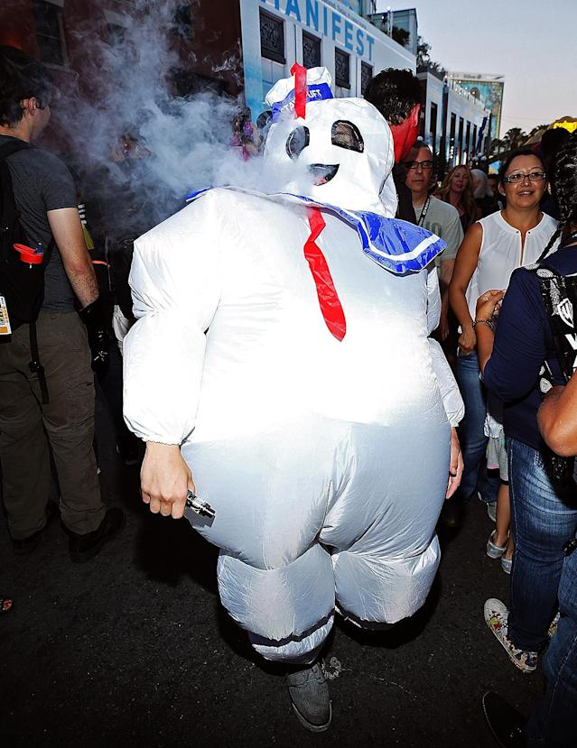 <p>Cosplayer dressed as Stay Puft Marshmallow Man at Comic-Con International on July 20, 2018, in San Diego. (Photo: Phillip Faraone/Getty Images) </p>