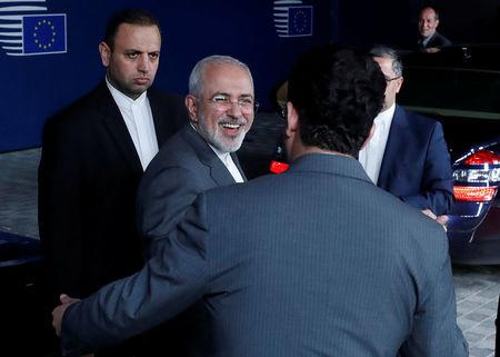 Iran's Foreign Minister Mohammad Javad Zarif leaves the EU council headquarters in Brussels