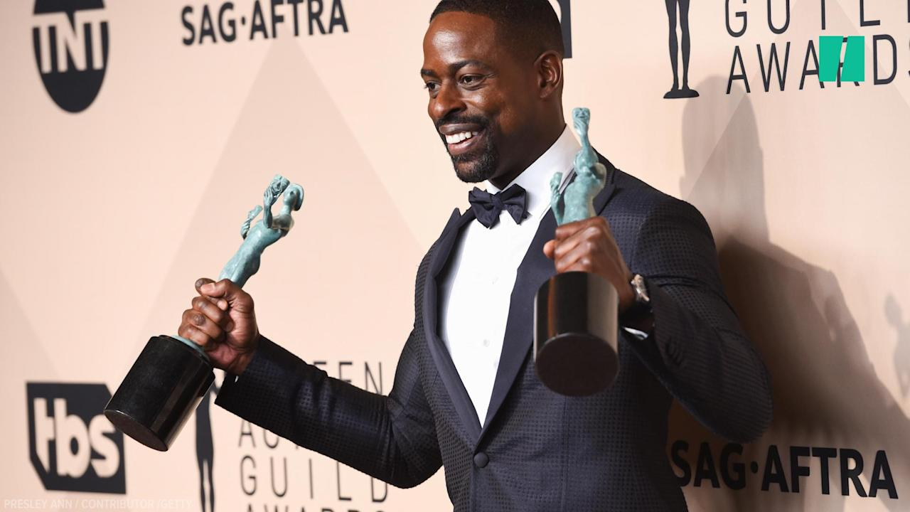 """Sterling K. Brown, who plays Randall Pearson on NBC's hit series """"This Is Us,"""" is the first African-American male to win an award for best actor in a drama series at both the Golden Globes and the Screen Actors Guild Awards."""
