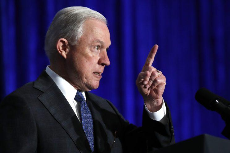 Attorney General Jeff Sessions speaks at the Justice Department's National Summit on Crime Reduction and Public Safety, in Bethesda, Maryland, on June 21, 2017.