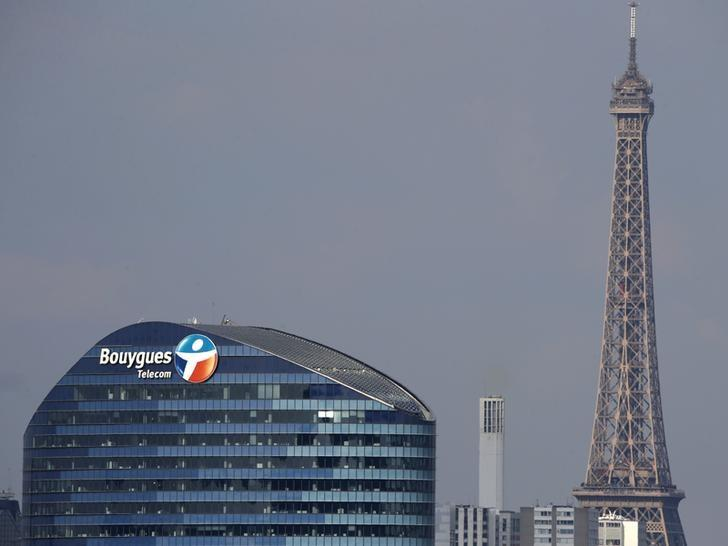 A Bouygues Telecom company logo is seen on the facade of the company's headquarters in Issy-Les-Moulineaux