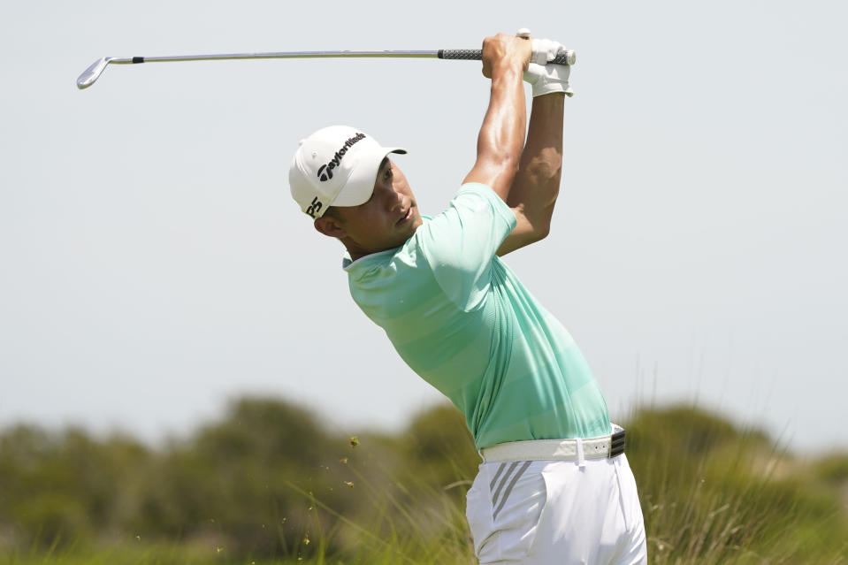 Collin Morikawa works off the fifth tee during the third round at the PGA Championship golf tournament on the Ocean Course, Saturday, May 22, 2021, in Kiawah Island, S.C. (AP Photo/Matt York)