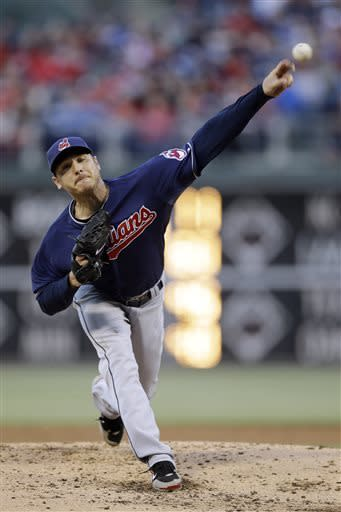 Cleveland Indians' Scott Kazmir pitches in the third inning of a baseball game against the Philadelphia Phillies, Tuesday, May 14, 2013, in Philadelphia. (AP Photo/Matt Slocum)