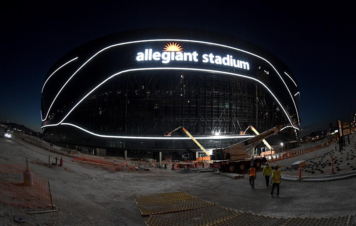 Will the Las Vegas Raiders be able to open Allegiant Stadium on time? (Photo by Ethan Miller/Getty Images)