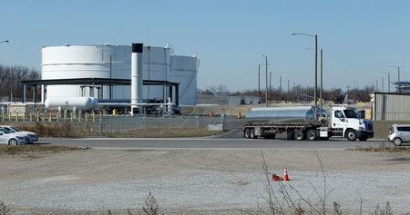 A tanker truck exits the Eco Energy storage and transfer facilities photographed in Philadelphia