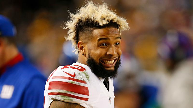 best service 174b4 df970 WATCH  Odell Beckham Jr. turn heads with one-handed catch during warmups
