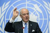 UN Syria envoy Staffan de Mistura gestures as he speaks during a press conference closing a round of Syrian peace talks at the United Nations Office in Geneva on March 24, 2016
