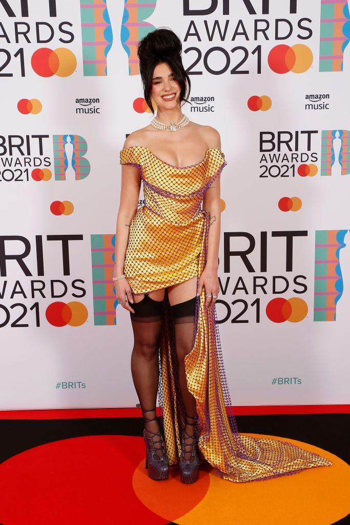 <p>Lipa wore custom-made Vivienne Westwood to collect her awards for British Album and British Female Solo Artist at the BRIT Awards. </p>
