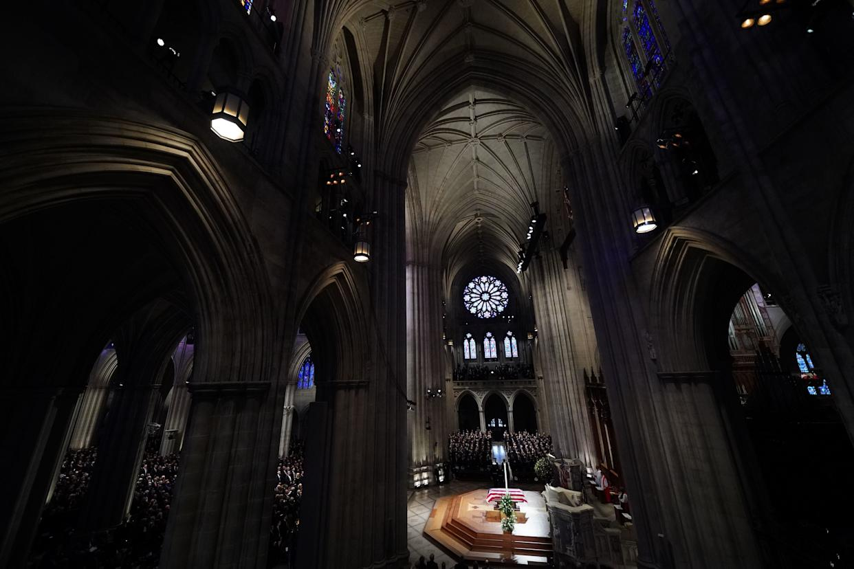 The casket is viewed for the funeral service for former President George H.W. Bush at the National Cathedral.