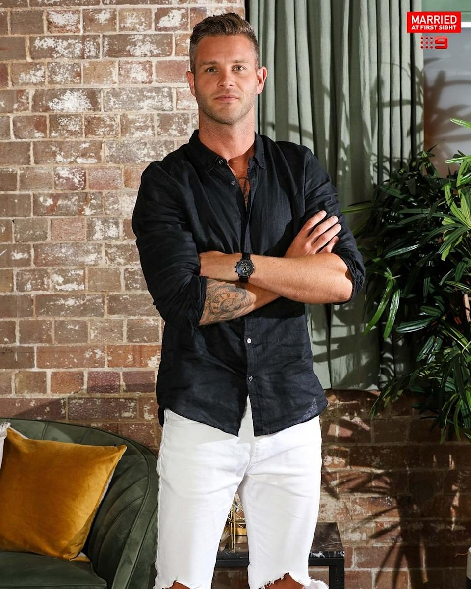Married At First Sight star Jake Edwards on set