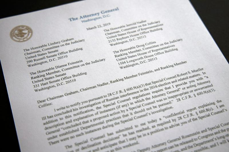 A copy of a letter from Attorney General William Barr advising Congress that Special Counsel Robert Mueller has concluded his investigation, is shown Friday, March 22, 2019 in Washington. Robert Mueller on Friday turned over his long-awaited final report on the contentious Russia investigation that has cast a dark shadow over Donald Trump's presidency, entangled Trump's family and resulted in criminal charges against some of the president's closest associates.
