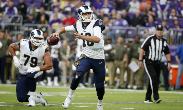 Quarterback Jared Goff leads the Rams into a huge game against the Saints on Sunday. (AP)