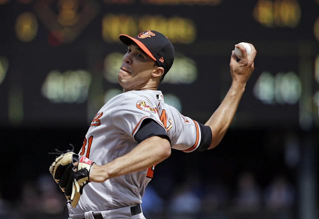 <p>Baltimore Orioles starting pitcher Ubaldo Jimenez throws against the Seattle Mariners in the second inning of a baseball game Wednesday, Aug. 16, 2017, in Seattle. (AP Photo/Elaine Thompson) </p>