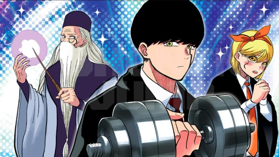 A promo image from Mashle: Magic and Muscles shows a dumbledore style wizard, a young boy with a weight, and a young girl with a hair tie