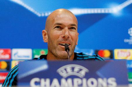 Soccer Football - Real Madrid Press Conference - Madrid, Spain - September 12, 2017   Real Madrid coach Zinedine Zidane during the press conference   REUTERS/Paul Hanna/Files