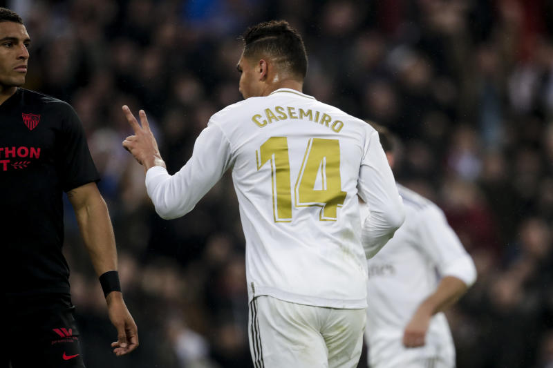 MADRID, SPAIN - JANUARY 18: Casemiro of Real Madrid celebrates goal 2-1 during the La Liga Santander match between Real Madrid v Sevilla at the Santiago Bernabeu on January 18, 2020 in Madrid Spain (Photo by David S. Bustamante/Soccrates/Getty Images)