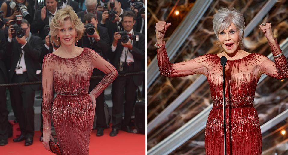 The 'Grace and Frankie' actor recycled an Elie Saab gown previously worn to Cannes in 2014. (Getty Images)