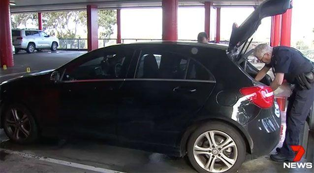 The carjackers nearly took off with this Mercedes after stealing the driver's car keys and wallet. Source: 7 News