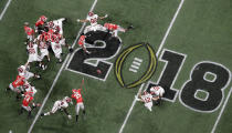 FILE - In this Jan. 8, 2018, file photo, Alabama place kicker Andy Pappanastos misses a field goal during the second half of the NCAA college football playoff championship game against Georgia in Atlanta. There are more bowl games scheduled for the coming season than ever before in major college football: 42, not including the College Football Playoff championship. College football leaders are in the process of piecing together plans to attempt to play a regular season during the COVID-19 pandemic. If it is even possible, everyone anticipates there will be disruptions, added expenses and loads of stress just to get through it. (AP Photo/John Bazemore, File)