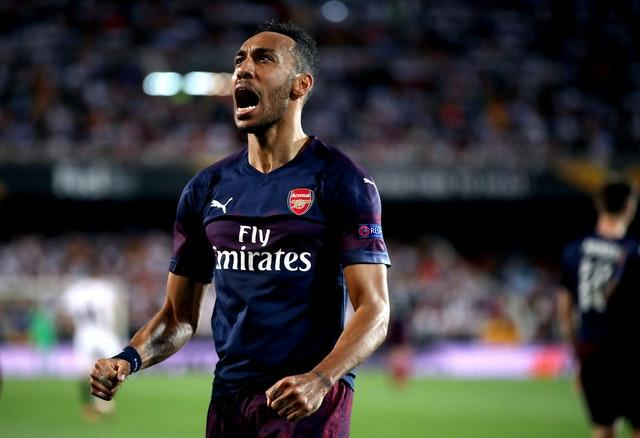 Aubameyang hit a hat-trick in Arsenal's Europa League semi-final second leg win over Valencia.