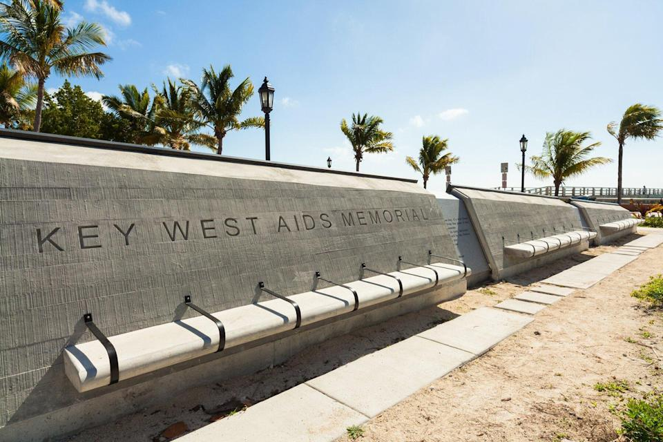 The Key West Aids Memorial located at the entrance of the White Street Pier along the beach.