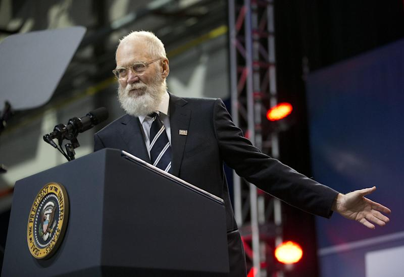 In this photo taken May 5, 2016, former late-night talk show host David Letterman on stage to help kick off the 5th anniversary of Joining Forces and the 75th anniversary of the USO, during ceremonies at Andrews Air Force Base, Md. Bill Murray was the first and last guest on David Letterman's late-night show, and Letterman will return the favor by making a rare public appearance when Murray is presented with the nation's top prize for humor. On Tuesday, Sept. 14, 2016, The Kennedy Center announced the lineup of performers for next month's celebration of Murray, who'll receive the Mark Twain Prize for American Humor. (AP Photo/Pablo Martinez Monsivais)